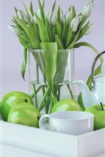 Preview iPhone wallpaper Green apples, tulips, cup