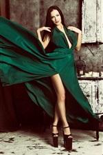 Preview iPhone wallpaper Green skirt girl