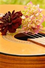 Preview iPhone wallpaper Guitar, flowers