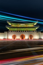 Preview iPhone wallpaper Gwanghwamun Gate, Gyeongbok Palace, Seoul, Korea, night, lights