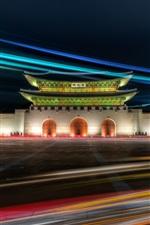 Portão de Gwanghwamun, Palácio de Gyeongbok, Seul, Coréia, noite, luzes