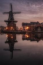 Haarlem, Holanda, casas, luzes, rio, moinho de vento, nuvens, noite