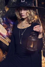 Halloween, witch, girl, broom, pumpkin, lantern