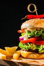 Preview iPhone wallpaper Hamburger, ketchup, french fries