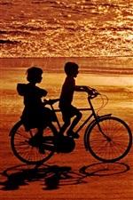 Happy childhood, childs, bike, sea, beach, sunset
