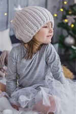 Preview iPhone wallpaper Happy little girl, hat, Christmas tree, New Year