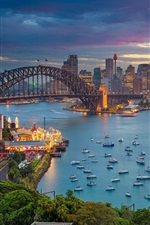 Preview iPhone wallpaper Harbour Bridge, Australia, city, evening, boats, yachts, bay