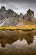 Preview iPhone wallpaper Iceland, East Horn, river, mountain, water reflection