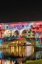 Preview iPhone wallpaper Italy, Florence, bridge, painting, graffiti, river, night