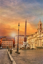 Preview iPhone wallpaper Italy, Rome, Piazza Navona, obelisk, city