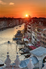 Italy, Venice, boats, river, houses, sunset