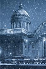 Preview iPhone wallpaper Kazan Cathedral, Saint Petersburg, winter, snow, promenade, Russia