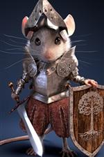 Cavaleiro, guerreiro, rato, armadura, design criativo
