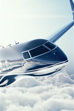 Preview iPhone wallpaper Learjet 45 private jet, plane, sky
