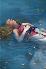 Preview iPhone wallpaper Legend of Zelda, girl lying in water, sword, art picture