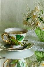 Preview iPhone wallpaper Lemon tea, daffodils, cake