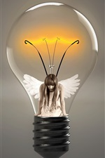 Preview iPhone wallpaper Light bulb, angel, girl, wings, creative picture