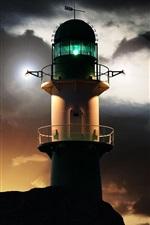 Lighthouse, night, lights
