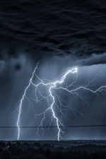 Preview iPhone wallpaper Lightning, dark clouds, night