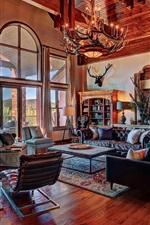 Living room, sofa, candles, windows, fireplace