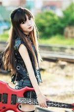 Preview iPhone wallpaper Long hair Asian girl, guitar, music