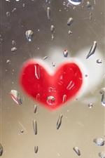 Amor coração, vidro, gotas de água