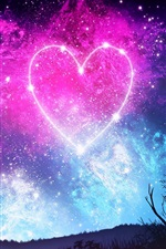 Preview iPhone wallpaper Love heart, sky, starry, night, girl, silhouette, beautiful picture
