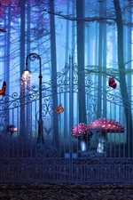 Preview iPhone wallpaper Magical Gate, forest, mushrooms, creative design