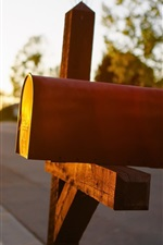 Preview iPhone wallpaper Mailbox, road, sun rays