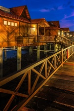Malaysia, Berjaya Langkawi Resort, houses, palm trees, lights, night