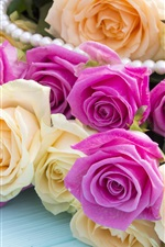 Preview iPhone wallpaper Many roses, yellow and pink flowers