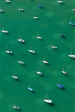 Preview iPhone wallpaper Many yachts, Lake Constance, Alps, top view