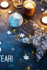 Preview iPhone wallpaper Merry Christmas and Happy New Year, candles, stars