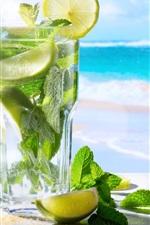Preview iPhone wallpaper Mojito, lemon, mint, sunglasses, sea