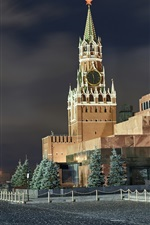 Moscow at night, city, Red Square, lights, Russia