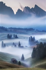 Preview iPhone wallpaper Mountains, houses, trees, fog, morning