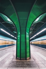 Preview iPhone wallpaper Munich, Bavaria, Germany, metro, lights lines, speed