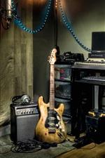 Preview iPhone wallpaper Music Studio, guitar, speaker, computer, lights