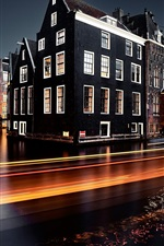 Preview iPhone wallpaper Netherlands, Amsterdam, river, light lines, night