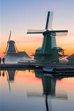 Preview iPhone wallpaper Netherlands, windmills, river, morning, fog