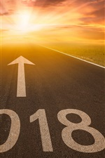 Preview iPhone wallpaper New Year 2018, road, arrow, sun rays