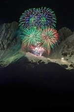 Preview iPhone wallpaper New Year fireworks, Alps, mountains, Austria, night