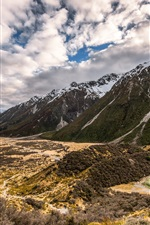 New Zealand, mountains, clouds, nature landscape