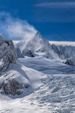Preview iPhone wallpaper New Zealand, peaks, white snow, mountains, clouds, winter