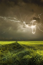 Preview iPhone wallpaper Night, fields, clouds, lightning