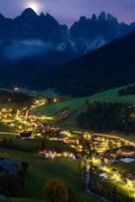 Preview iPhone wallpaper Night, village, lights, trees, mountains, Alps