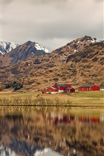 Preview iPhone wallpaper Norway, Lofoten, bushes, river, mountains, houses