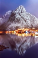 Preview iPhone wallpaper Norway, town, village, fjord, city night, lights, snow, water reflection