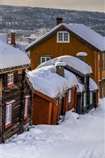 Preview iPhone wallpaper Norway, village, winter, houses, thick snow