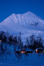 Norway, winter, snow, trees, mountains, house, night